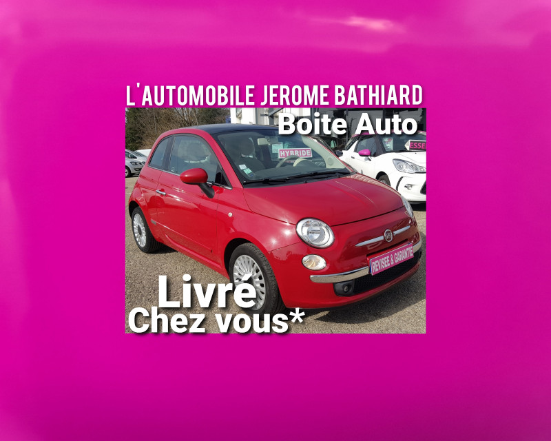 Fiat 500 1.2L 69cv Lounge 56000km Boite Auto Toit Panoramique Bluetooth Jante Alu Clim Radio CD MP3 Essence rouge Occasion à vendre