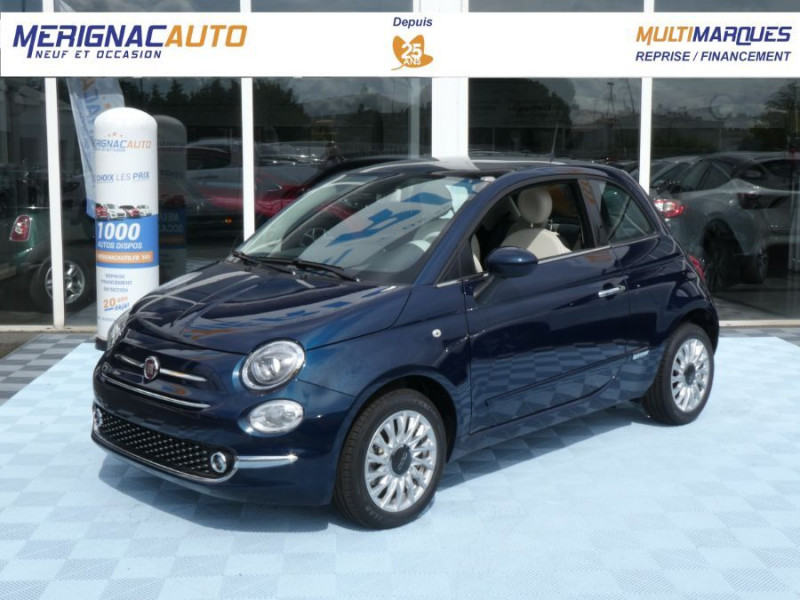 Fiat 500 1.2 69 Dualogic PACK LOUNGE TOIT Pano GPS (10 Options) ESSENCE EPIC BLUE METAL Neuf à vendre