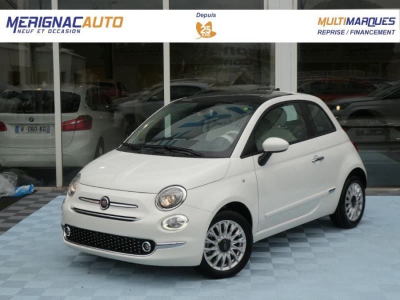 Fiat 500 1.2 69 Dualogic PACK LOUNGE TOIT Pano GPS (10 Options) ESSENCE BLANC GELATO Neuf à vendre