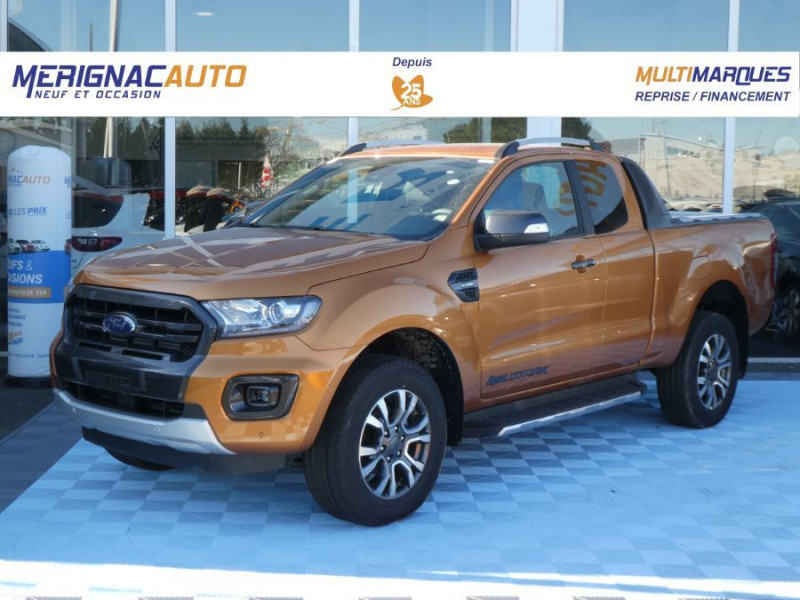 Ford RANGER SUPER CAB 2.0 TDCI 213 BVA10 4WD WILDTRAK Cover Pack Tech. JA Noires 33000HT DIESEL ORANGE PRIDE MÉTAL Neuf à vendre