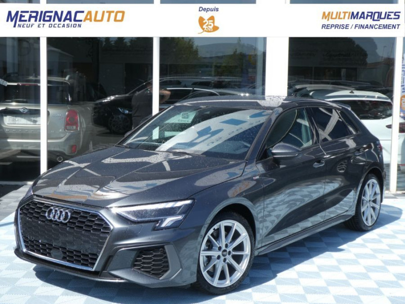 Audi A3 SPORTBACK IV 35 TFSI 150 MHEV S Tronic 7 S LINE Mirror JA18 Audi Sport Etoile ESSENCE GRIS DAYTONA Neuf à vendre
