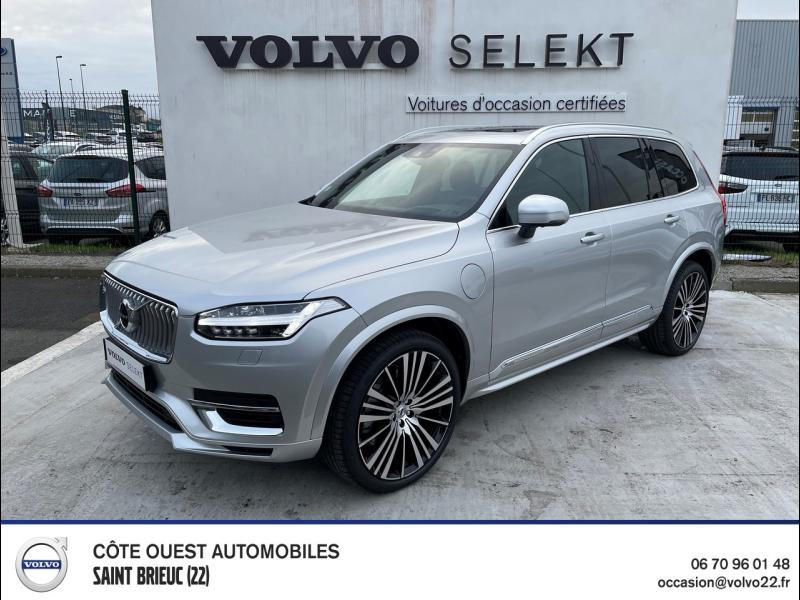 Volvo XC90 T8 Twin Engine 303 + 87ch Inscription Luxe Geartronic 7 places 48g Hybride rechargeable : Essence/Electrique Argent Brillant Occasion à vendre
