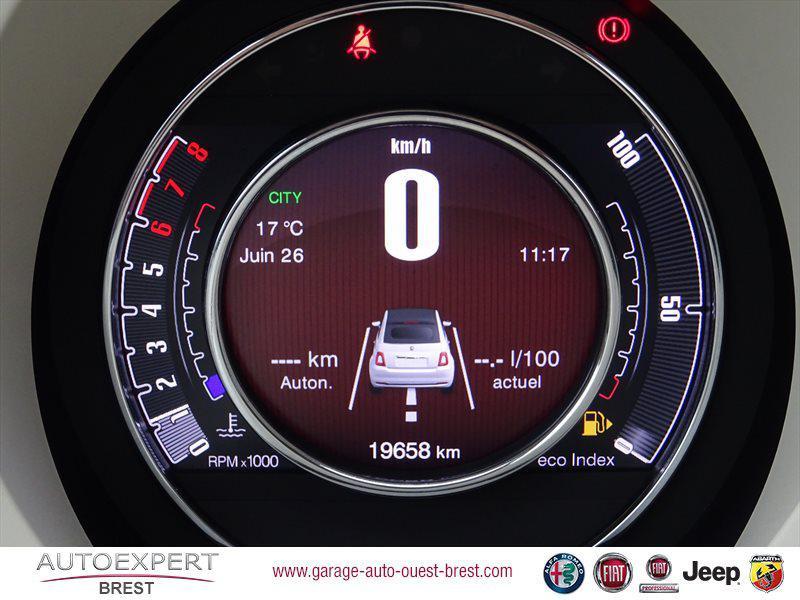Photo 11 de l'offre de FIAT 500C 1.2 8v 69ch Eco Pack Lounge Euro6d à 13490€ chez Garage Auto de l'Ouest - Brest