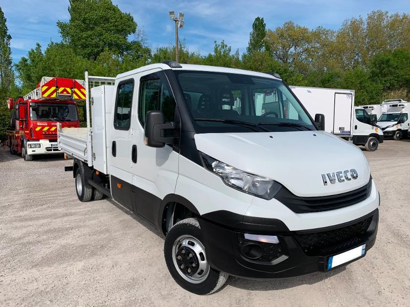 Iveco 35c14 D BENNE + COFFRE DOUBLE CABINE CLIM AUTO COMMANDES AU VOLANT Diesel Blanc Occasion à vendre