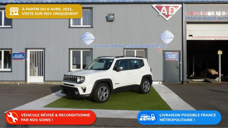 Jeep RENEGADE 1.6 MULTIJET S&S 120CH LIMITED BVRD6 Diesel BLANC Occasion à vendre